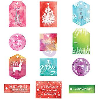 Sweet Peppermint Watercolor Resist Tags 12/Pkg-  991555