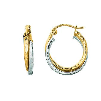 14k Yellow White Gold Shiny Sparkle-Cut Double Row Round Hoop Earrings With Hinged Clasp - 1.1 Grams
