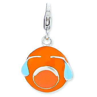 Sterling Silver Rhodium-plated Fancy Lobster Closure Enameled 3-d Crying Face With Lobster Clasp Charm