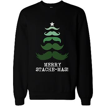 Merry Stache-mas Pullover Sweater – Cute Holiday Graphic Sweatshirts