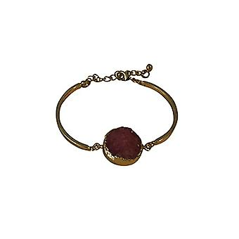 Minimalist chic natural stone statement bracelet pink