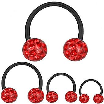 Circular Barbell Horseshoe Black Titanium 1,2 mm, Multi Crystal Ball Red | 6-12