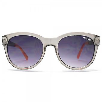 Miss KG Runde Sonnenbrille mit Metall Temple In Crystal Grey & Rosa Leopard