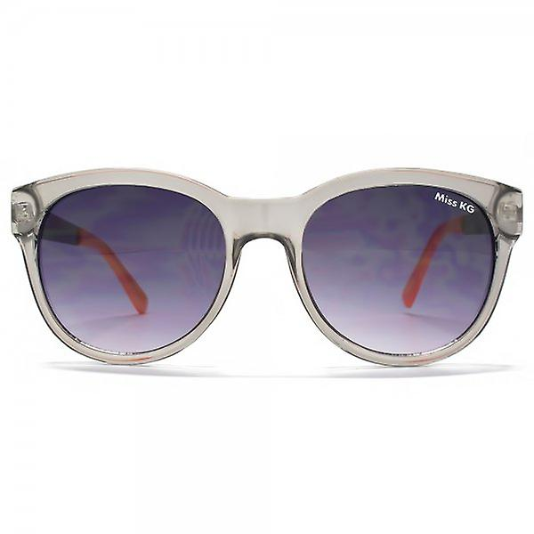 Miss KG Round Sunglasses With Metal Temple In Crystal Grey & Pink Leopard