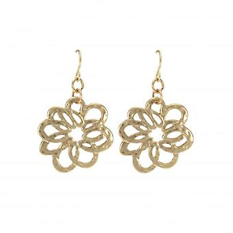 W.A.T Gold Style Swirly Flower Shaped Fashion Earrings