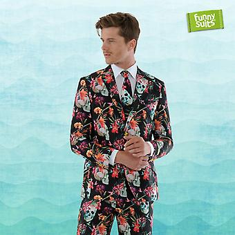 Skull flower suit skull, day of the dead 3-piece suit costume deluxe EU SIZES