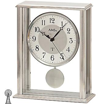 AMS table clock pendulum clock radio clock with pendulum mineral glass with metal housing