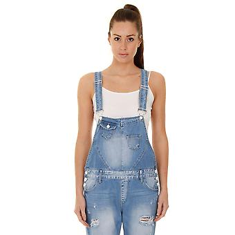 Women's Boyfriend Fit Destroyed Denim Dungarees - Pale wash Bib Overall onepiece