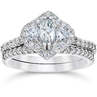 1 3 / 4ct Marquise Halo Diamond uitstekende verlovingsring Set 14K White Gold