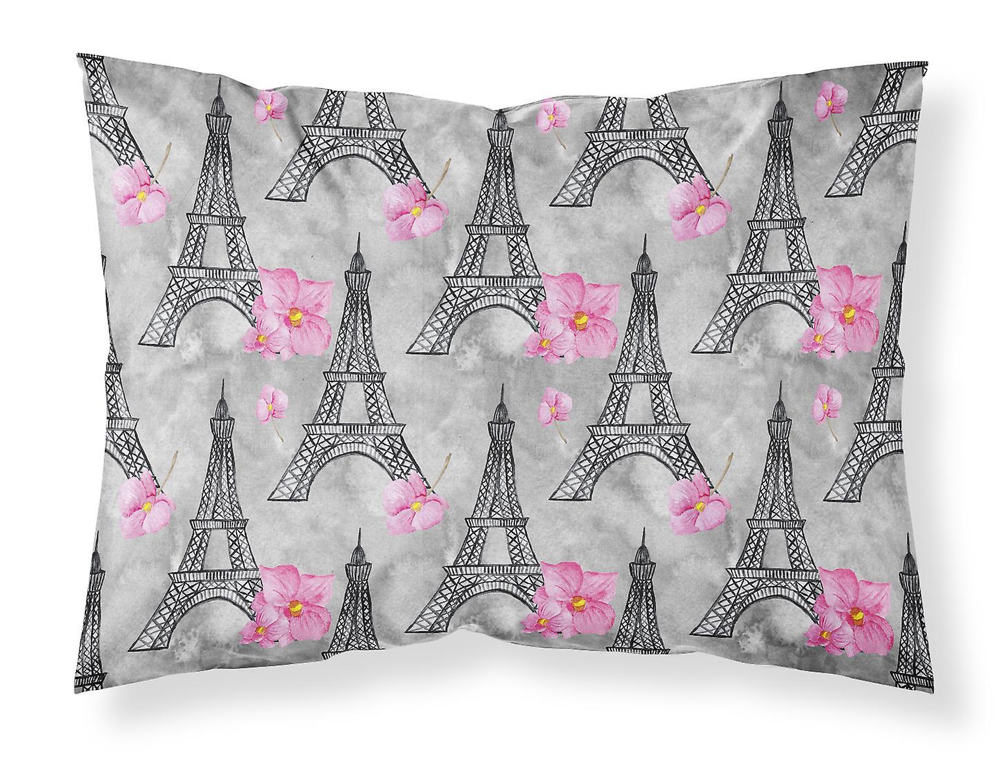 Taie Tour D'oreiller Eiffel Standard Aquarelle Rose Tissu Du Fleurs QCsdhtrx