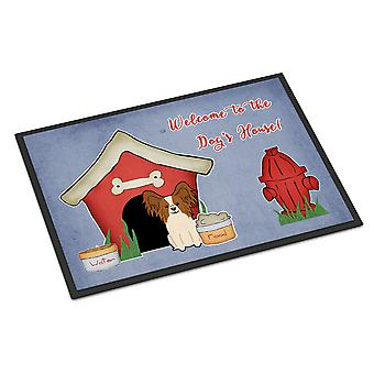 Dog House Collection Papillon Red White Indoor or Outdoor Mat 24x36