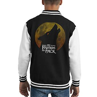My Friends My Pack Wolf Howling Silhouette Kid's Varsity Jacket