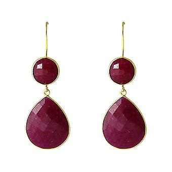 Gemshine - red - CANDY - Ruby - gold plated ladies - earrings - 925 Silver - - drop - 6 cm