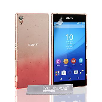 Yousave Zubehör Sony Xperia Z3 Plus Regentropfen Hard Case - rot-Clear