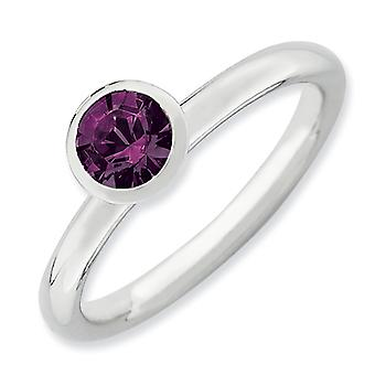 Sterling Silver Stackable Expressions High 5mm February Crystal Ring - Ring Size: 5 to 10