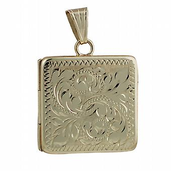 9ct Gold 22mm flat square hand engraved Locket