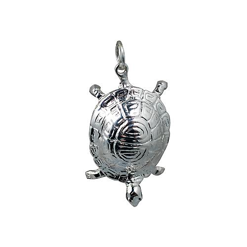 Silver 29x18mm Tortoise Pendant or Charm