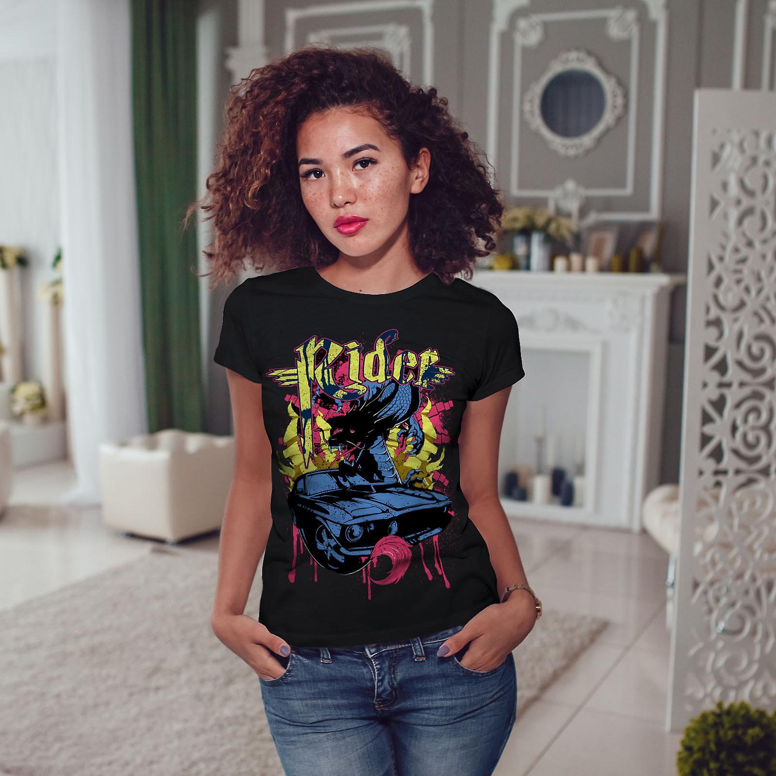Jinete de sangre deporte coche mujeres negro camiseta | Wellcoda