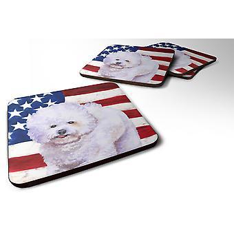 Set of 4 Bichon Frise Patriotic Foam Coasters Set of 4