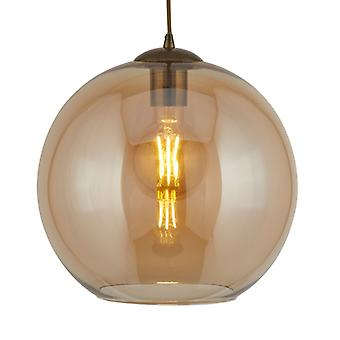 Balls Antique Brass Small Pendant With Amber Glass - Searchlight 1621am