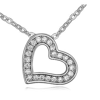 Womens Love Heart Pendant Necklace With Encrusted Crystal Stones Silver Tone BG1303