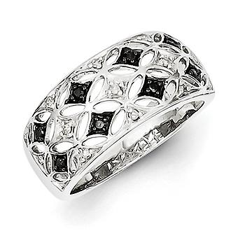 Sterling Silver Rhodium Plated Back and White Diamond Ring - Ring Size: 6 to 8