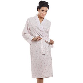 Camille Ladies Pink Floral Print Jersey Knit Cotton Dressing Gown
