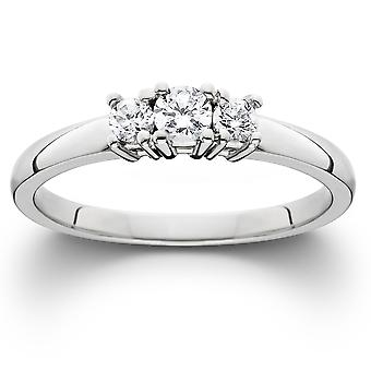 1 / 2ct три камня Алмазный кольцо 14K Белое золото