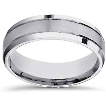 6mm Mens White Gold Brushed Beveled Edge Wedding Band