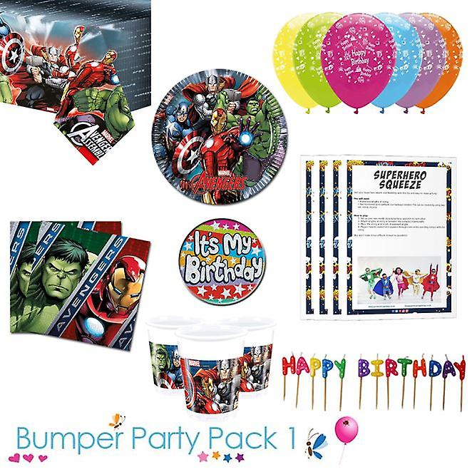 Avengers party tableware bumper pack 1 for 8, 16, 24 or 32 guests - 16 guests