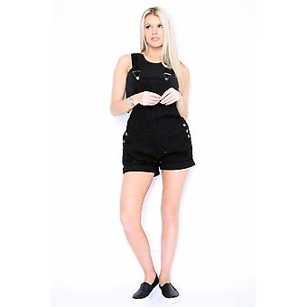 Black Dungaree Shorts Ladies Destroyed Black Denim Overall Shorts