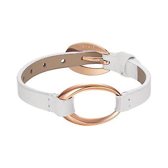ESPRIT women's leather bracelet stainless steel Rosé Ovality white ESBR11423K200