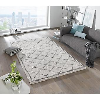 Design cut pile carpet deep pile loft cream grey