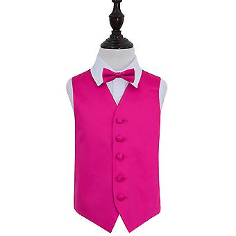 Hot Pink Plain Satin Wedding Waistcoat & Bow Tie Set for Boys