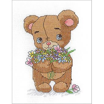 Bear With Bouquet Counted Cross Stitch Kit-5