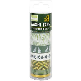 First Edition Washi Tape 10M Rolls 8/Pkg-Kale