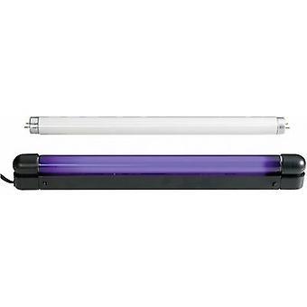 UV Leuchtstoffröhre set 60cm Slim UV & Weiß 18 W schwarz