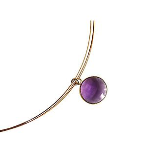 Amethyst necklace gemstone necklace Amethyst necklace gold plated jewelry wire chain
