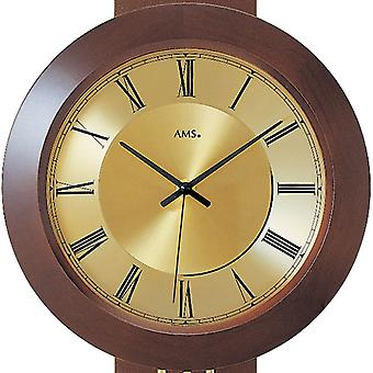 painted rustic modern wall clock with pendulum radio solid wood Walnut colours