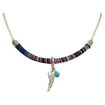 Ladies - necklace - pendant - 925 Silver - AZTEC - BOHO - wings - turquoise - blue