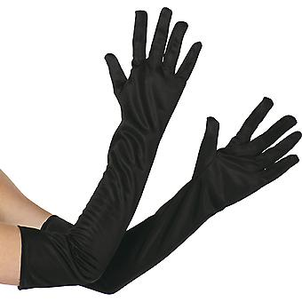 Handschuhe schwarz extra lang Accessoire Karneval Glove Halloween