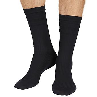 Ickburgh men's cotton elastic free crew sock in navy |By Pantherella