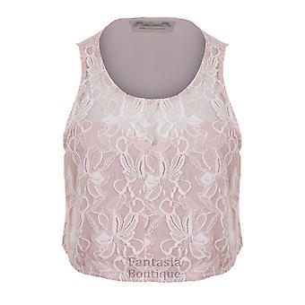 New Ladies Sleeveless Floral Lace Crop Vest Top Women's Blouse