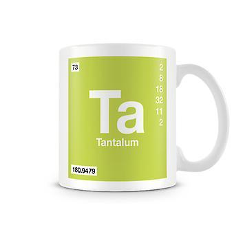 Taza impresa científica con elemento símbolo 073 Ta - tantalio