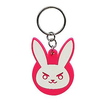 Overwatch Keychain D.VA Bunny logo white / pink 100% metal, on blister card.