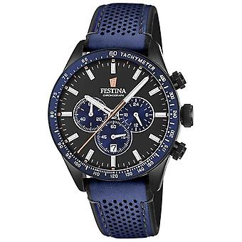 Festina Mens Chronograph Black Dial Blue Leather Strap F20359/2 Watch