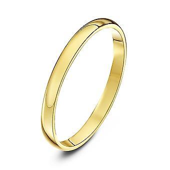 Star anneaux 18 carats jaune lumière or D 2mm bague de mariage de mariage