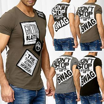 Men's short-sleeved shirt O-Neck T-Shirt Patches Ghetto Blaster print