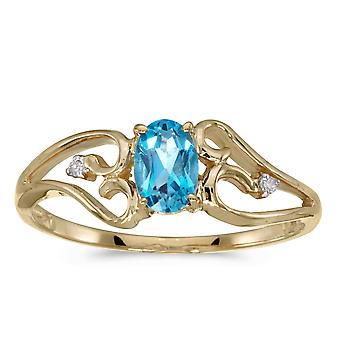 10k Yellow Gold ovale Blue Topaz And Diamond Ring