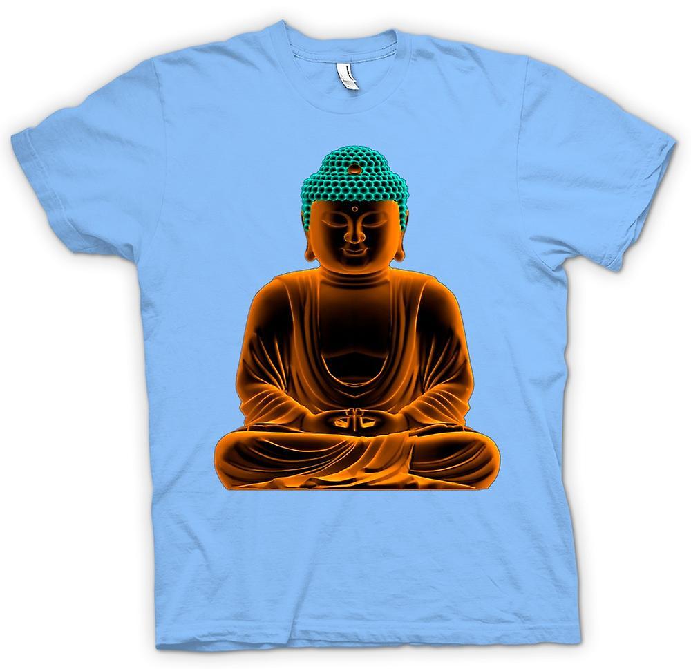 Herr T-shirt - Serene gyllene Buddha - andlig